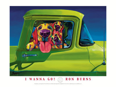 Hound dogs in green truck, I wanna go art print