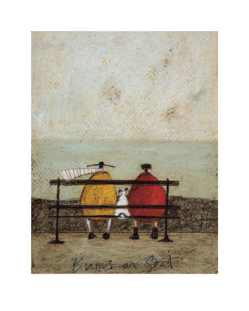 Dog art prints - Bums on a Seat with dog by Sam Toft