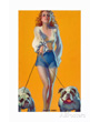Art print of sexy woman walking English Bulldogs