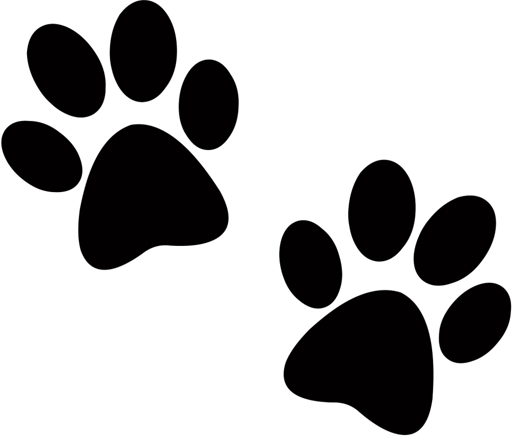 Two Dog Paw Prints in Silhouette