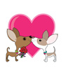 Clip Art of Two Valentine Chihuahua Dogs